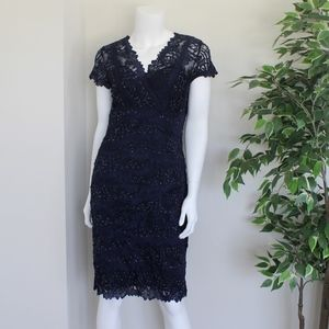 Navy Blue Beaded Cocktail Dress